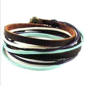 Jewelry - Boho Turquoise Leather Wrap Bracelet